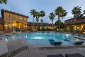 Three Bedroom Apartments for Rent in Northwest Houston, TX -Evening View of Pool Area (2)